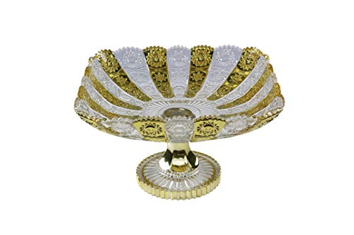 Pars Collections New Elegant Crystal Glass Centerpiece Serving Footed Square Bowl for Home, Office, Décor, Serving Fruit or Desert - Gold Bowl Footed