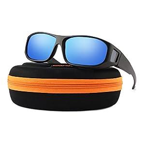 Oversized Lens Cover Sunglasses Mirrored - Warp Around Polarized Lens for Men Women