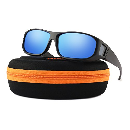 Oversized Lens Cover Sunglasses Mirrored - Warp Around Polarized Lens for Men Women (Women Sunglasses For Prescription)