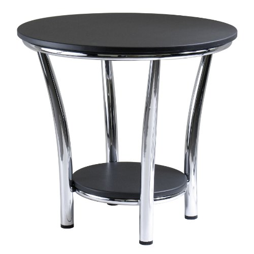 Winsome Wood Maya Round End Table, Black Top, Metal Legs