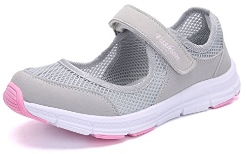 SAGUARO Women's Comfy Breathable Walking Shoes Lady Soft Fashion Mary Jane Sneakers Lightweight Flat Shoes,EU42 Pink and Grey ()