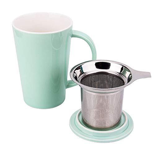 (FIDGETERRELAX Tea Brewing Cup, Porcelain Tea Mug with Infuser Basket and Lid, 15oz (Turquoise))