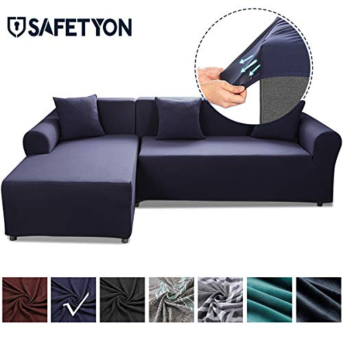 Sand Sofa Slipcover SAFETYON Elastic Sofa Cover Sets L Shape Stretch Furniture Cover Pet Dog Sectional/Corner Couch Covers Thin velvet L-type flexible sofa cover 3-seat +3 seat Dark Blue (For Sectionals Covers Slip Sofa)
