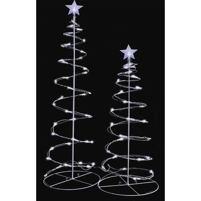 4' Spiral (Sienna Set of 2 Cool White LED Lighted Outdoor Spiral Christmas Trees Yard Art 3', 4')