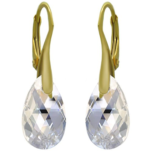 """Royal Crystals""""Made with Swarovski Elements"""" 24k Gold Plated Sterling Silver Drop Leverback Earrings (Moonlight)"""