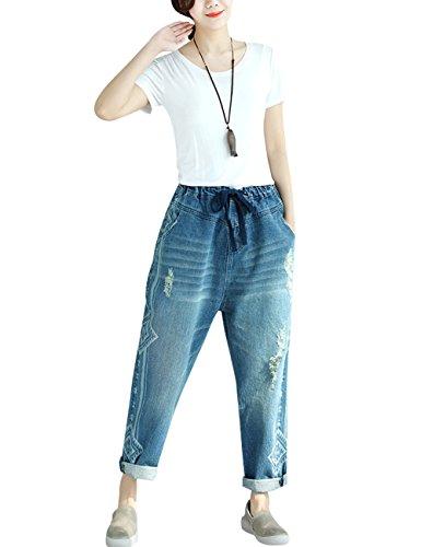 Estilo Primavera 1 Pantalones Cintura Mezclilla Harén Mujer Elástica Youlee Verano nZSxqBAST