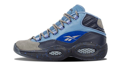 Reebok Mens Question Mid Stash/Grey/Navy/UltraMarine Leather Size 8.5