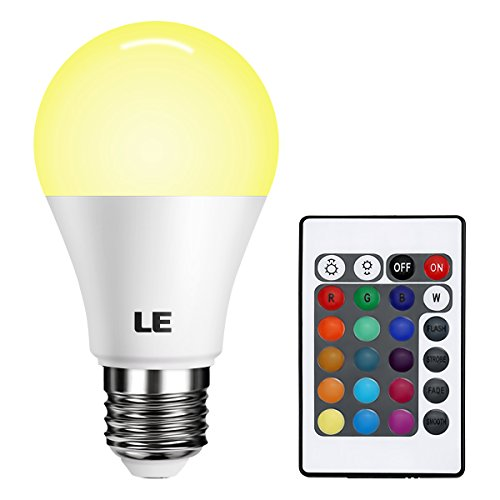 LE A19 E26 LED Light Bulb, 40 Watt Incandescent Equivalent, RGBW, Dimmable, 6W 470lm, 4 Modes Color Changing with Remote Control, for Home, Living Room, Bedroom and More