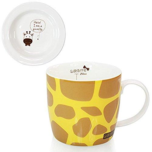 Grimbatol Adorable Cartoon Giraffe Design Ceramic Drink Tea Milk Coffee Mug Cup With Lid (Yellow)