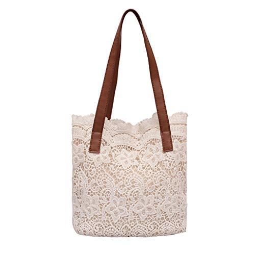 Qingell Handmade Lace Bag Travel Beach Fishing Net Handbag Shopping Woven Shoulder Bag for Women/Girls White