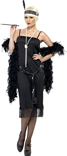 Smiffy's Women's Flapper Costume, Dress, Sash Belt and Headpiece, 20's Razzle Dazzle, Serious Fun, Plus Size 18-20, (Black Flapper Dress Costume Uk)