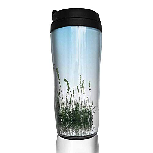 - coffee cups warmer Landscape,Scenery of a Lake Bushes Grass with Reflection Floral Art Image Print,Light Blue Jade Green 12 oz,hot plate for coffee cup