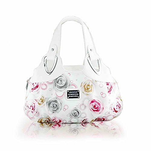 Panzexin 2017 New Fashion Print Ladies handbag Top Handle Handbags for Wowen (White&rose)