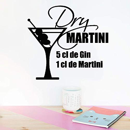 Lisoue Vinyl Removable Wall Stickers Mural Decal Art Family Decals Recipe Dry Martini Recipe 5 5 Cl De Gin for Kitchen Dining -