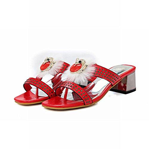 Red New Mid Mule Style Shoes Decorations Women's Heel Carolbar Fashion xAqacSzWwg