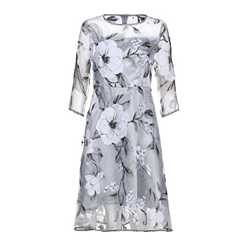 AIMTOPPY Women's Summer Three-quarter sleeves Organza Floral Print Wedding Party Ball Prom Gown Cocktail Dress (XL, Gray) by AIMTOPPY (Image #4)