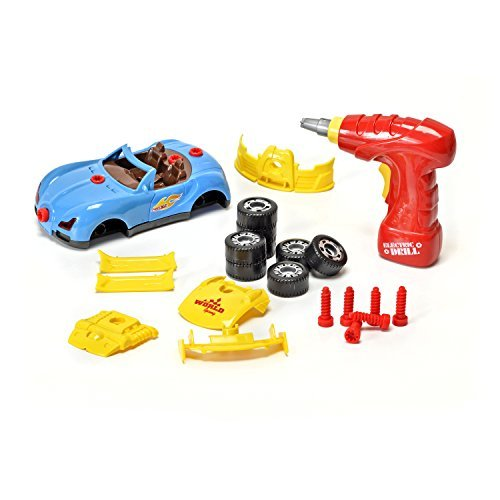 Brunfen Toys Racing Car Build-Your-Own 30 Piece Kids with Sounds and Lights, Includes Power Drill