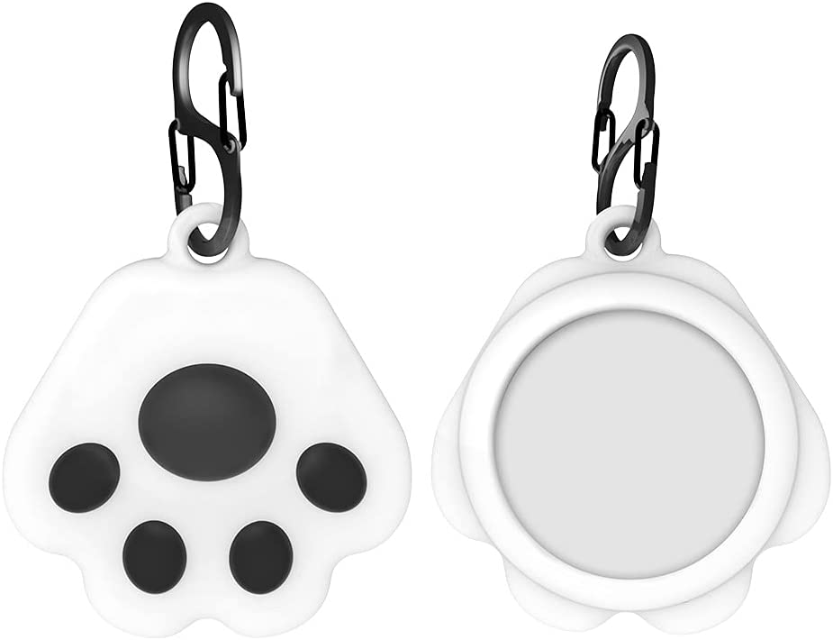 AirTags Silicone Case Compatible with Apple AirTags, Cute Cartoon Cat Paw Anti-Lost Protective Cover with Keychain Holder, Kawaii GPS Tracker Cover for Wallet Car Pet Cat Dog iPhone AirPods iPad