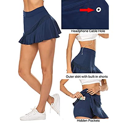 Ekouaer Women's Athletic Golf Skorts Lightweight Skirt Pleated with Pockets for Running Tennis Workout at Women's Clothing store