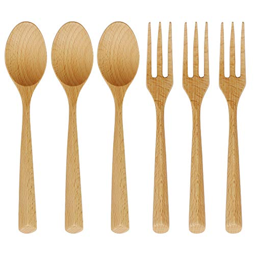Small Wood Spoon - Wooden Forks and Spoons Set, ADLORYEA 6 Piece Natural Wood Eating Utensils, 7.5 Inch Handmade Korean Wooden Spoon for Pasta, Dinner, Tea, Salad Desserts, Chips, Snacks, Cereal, Fruit