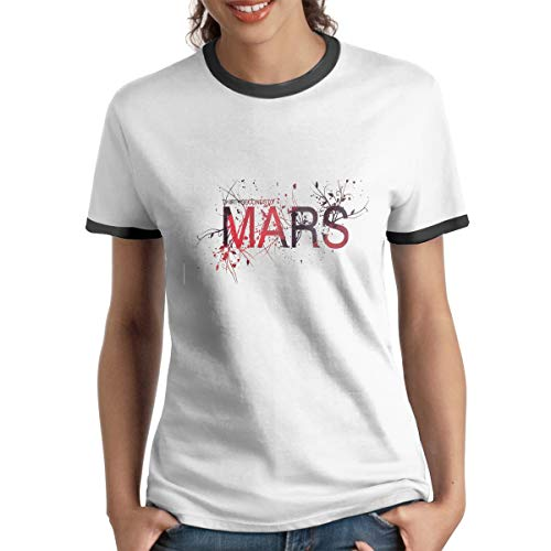WangSiwe 30 Seconds to Mars Women's Short Sleeve Fashion Summer Raglan Baseball Tee Black (30 Seconds To Mars Vintage T Shirt)