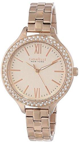 Caravelle New York Women's 44L125 Analog Display Japanese Quartz Rose Gold-Tone Watch