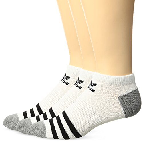 adidas Originals Kids - Boys/Girls Roller No Show Socks (3-Pair), White/Black, Large