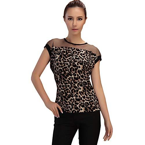 2203d0a65bb HUILAN Women's Short Sleeve Mesh Leopard Casual Tee Shirt Tops ...