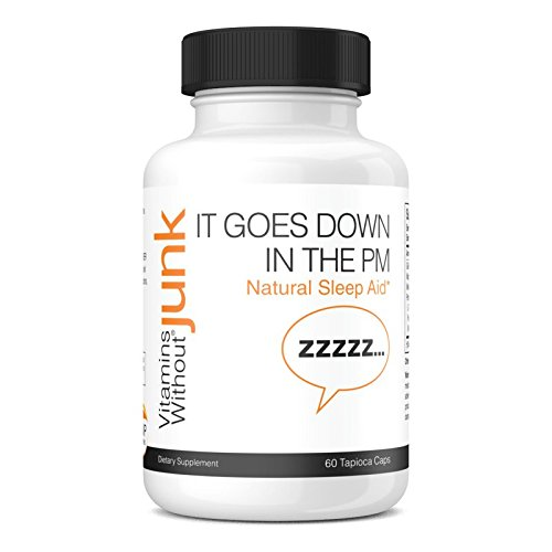 Vitamins Without Junk It Goes Down In The PM (Natural Sleep Formula), 500 mg, 60 Vegetarian Tapioca Based Capsules - Dairy Free - Vegan by Vitamins Without