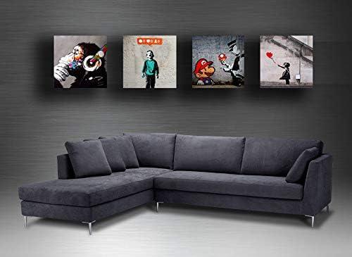 Quadri Moderni BANKSY murales street art 4 pezzi Stampa Tela CANVAS  Arredamento Arte XXL Arredo per soggiorno salotto camera da letto cucina  ufficio ...