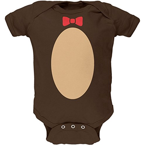 [Halloween Teddy Bear Costume Brown Soft Baby One Piece - 6 month] (Yogi Bear Halloween Costume)