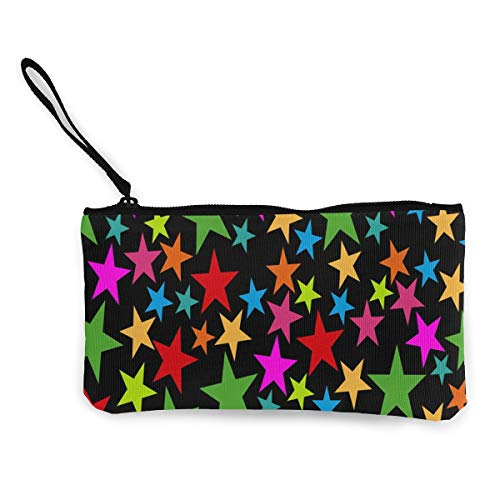 Coin Purse Stars On Black Background Zipper Canvas Wallet TravelSpecial Holder