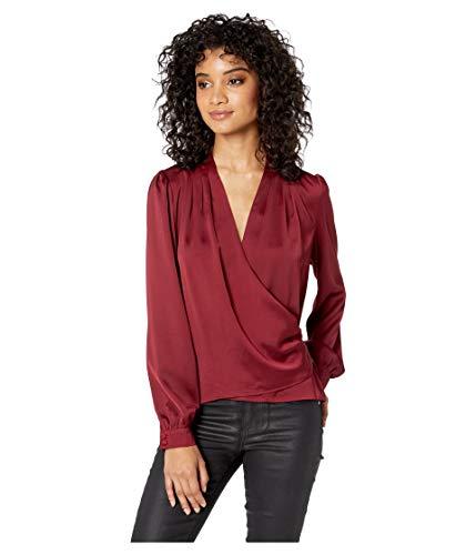 ASTR the label Women's Janice Long Sleeve Drape Cowl WRAP Blouse TOP, Cabernet, M -