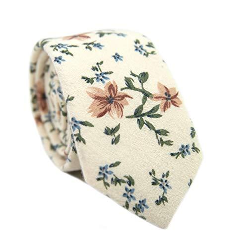 (DAZI Men's Skinny Tie Floral Print Cotton Necktie, Great for Weddings, Groom, Groomsmen, Missions, Dances, Gifts. (Sugar Blossom))