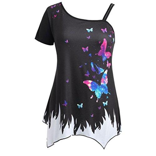 iYYVV Women Butterfly Printing Crop Cold Shoulder Plus Size Cami Sundress Tunic - Hem Petal Dress Silk