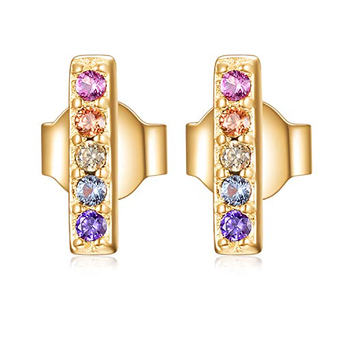 Rainbow CZ Bar Earrings - Gold over Sterling Silver Multi Color Cubic Zirconia Line Earrings Dainty Studs -