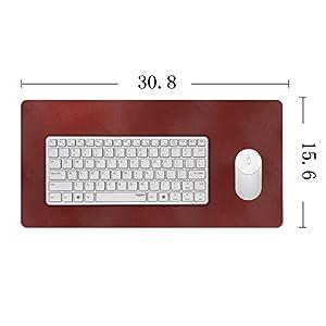 "YAPISHI PU Leather Desktops and Laptops Mouse Pad/Mat,Ultra-Smooth Ultrathin Sueding Backside Large Pad Writing/Gaming Desk Pad, 31""x15""(Red)"
