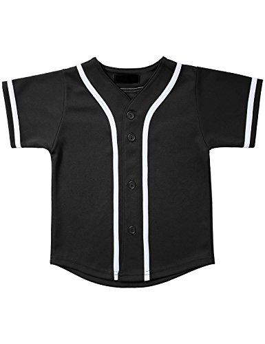 Hat and Beyond Kids Baseball Jersey Button Down T Shirts Hipster Plain Hip Hop Uniforms (06T, 5pu01_Blk.WHI) ()