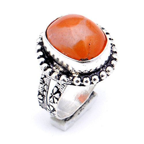 Delicate! Handmade Jewelry! Orange Botswana Agate Sterling Silver Overlay Ring Size 6 US