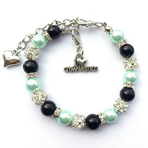 DOLON 8mm Glass Pearls Beaded Gymnastics Charm Bracelet Sports Team Spirit Gymnast Jewelry Gift-Black with Blue -