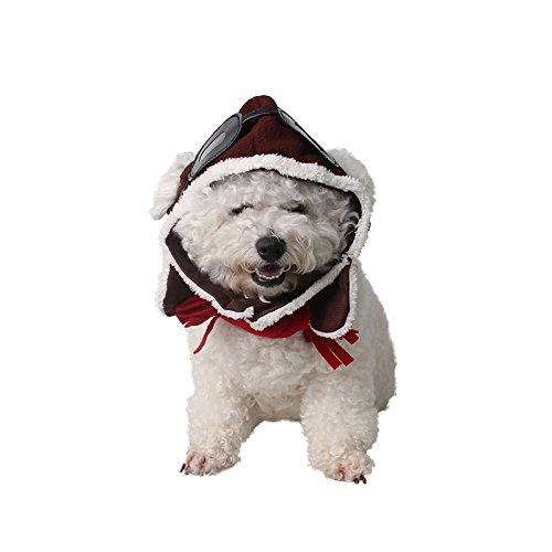 Pet Supplies Dog Hat Red Scarf Pilots Warm Hat (one size) by ABLAZE ZAI (Image #2)