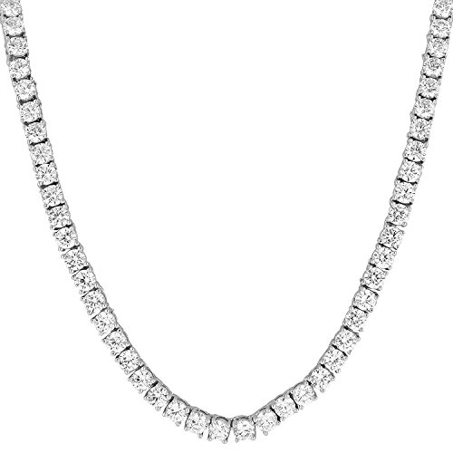 Bling Bling NY NEW 1 Row Tennis Necklace/Bracelet 20/22/24 Inch Silver Finish Lab Created Diamonds 4MM Iced Out Solitaires (Chain 16'') (Fashion Zirconia Cubic 16' Necklace)