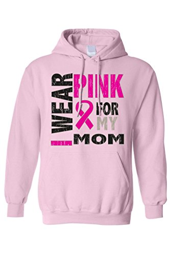 SHORE TRENDZ Unisex Pullover Hoodie Breast Cancer Awareness I Wear Pink for My Mom: LIGHTPINK (Large)