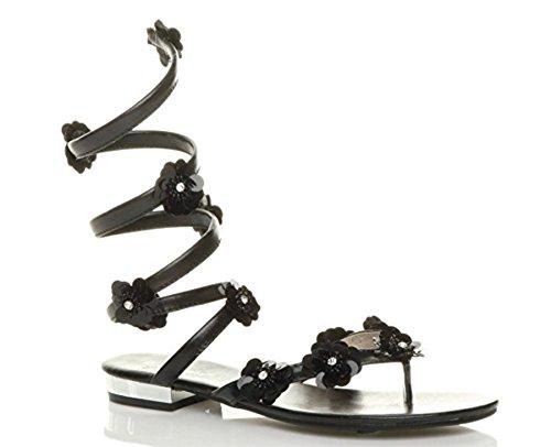 Sandalias tiras con mujer punta de Gladiador de del verano Wrap del Tobillo Damas dedo negro tamaño para pie plano q7zxzXv