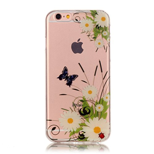 Custodia iPhone 5 5S SE , LH Fiore Farfalla TPU Silicone Trasparente Case Cover Cristallo Morbido Custodie per Apple iPhone 5 5S SE
