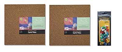 """Quartet Cork Tiles, 12"""" x 12"""", Corkboard, Mini Wall Bulletin Boards, Natural"""