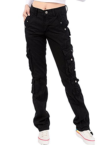 MUST WAY Women's Active Loose Fit Casual Cargo Pants with Multiple Pockets Black 36