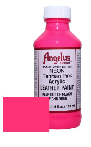 Leather Paint - 4 Ounces, Tahitian Pink (Pink Leather Finish)