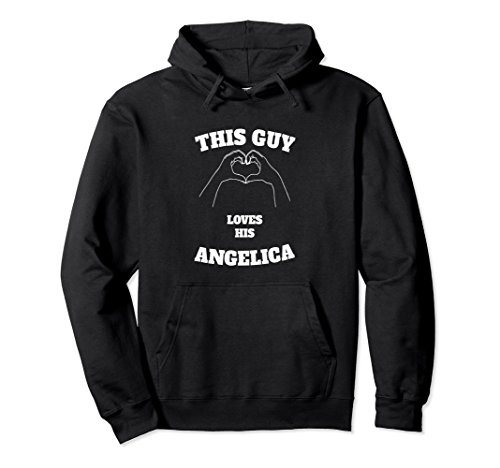 Unisex This Guy Loves His Angelica Hoodie Valentine Day Gift 2XL Black (Valentine Gifts For A Guy)