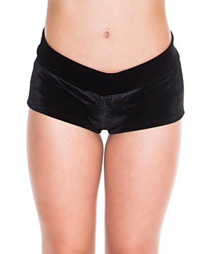iHeartRaves Black Velvet Scrunch Back Booty Shorts (Small) by iHeartRaves